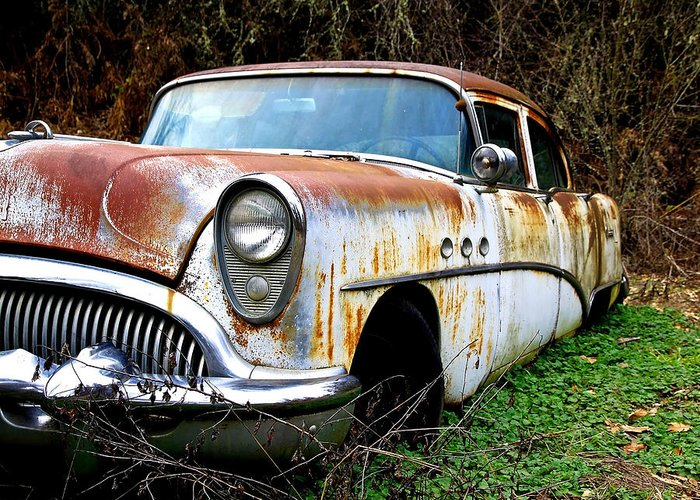 Buick Greeting Card featuring the photograph 50's Cruiser Of The Past by Steve McKinzie
