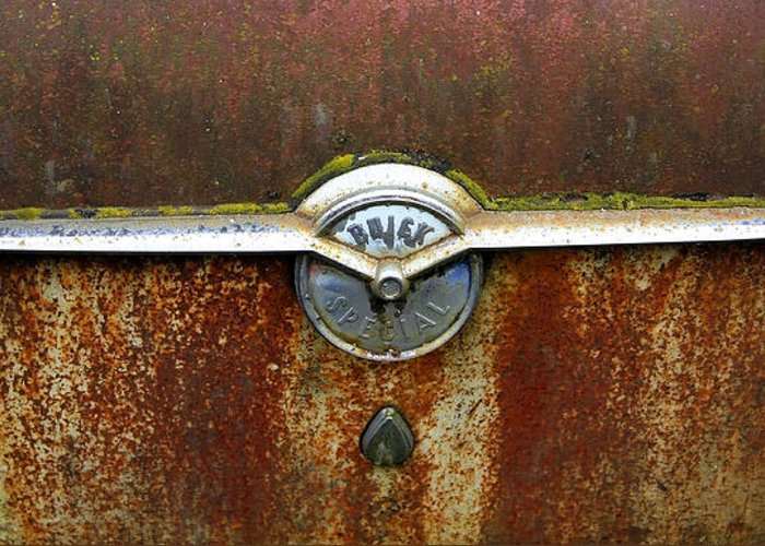 Buick Greeting Card featuring the photograph 54 Buick Emblem by Steve McKinzie