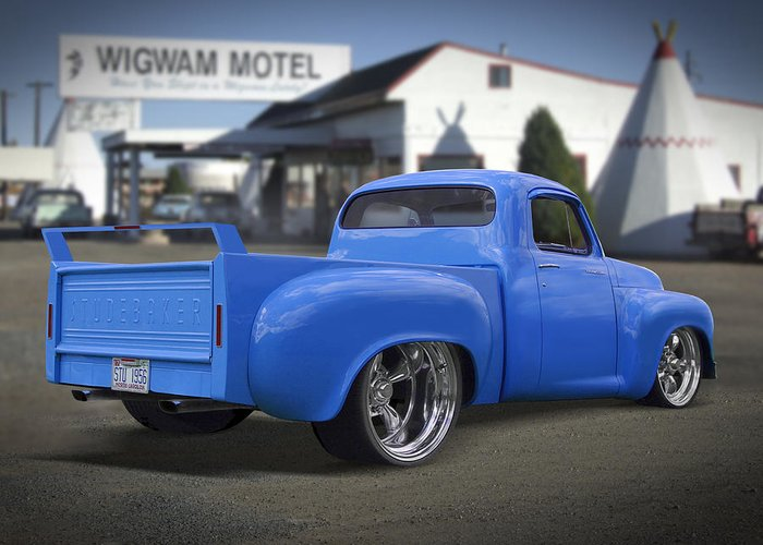 Transportation Greeting Card featuring the photograph 56 Studebaker At The Wigwam Motel by Mike McGlothlen