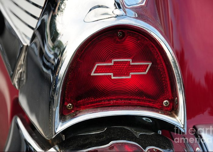 57 Chevy Greeting Card featuring the photograph 57 Chevy Tail Light by Paul Ward