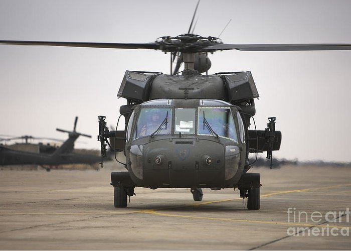 Aviation Greeting Card featuring the photograph A Uh-60 Black Hawk Taxis by Terry Moore