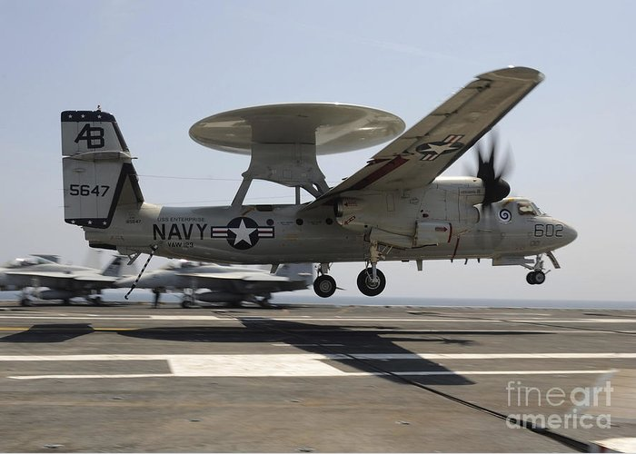 Aircraft Greeting Card featuring the photograph An E-2c Hawkeye Lands Aboard by Stocktrek Images