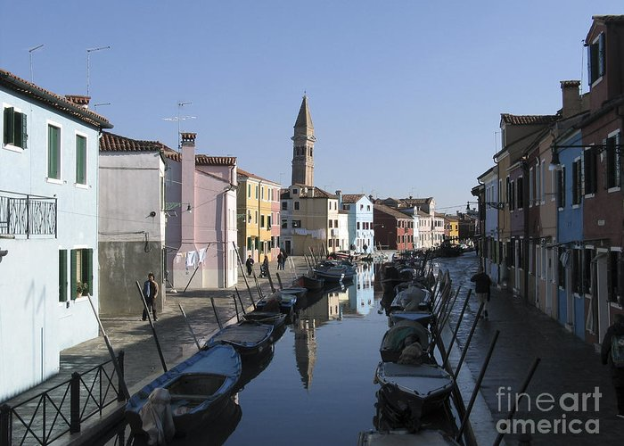 Facade Peinte Greeting Card featuring the photograph Burano.venice by Bernard Jaubert