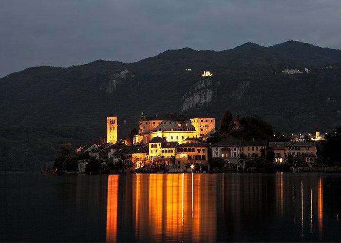 Orta Greeting Card featuring the photograph Island Of San Giulio by Joana Kruse