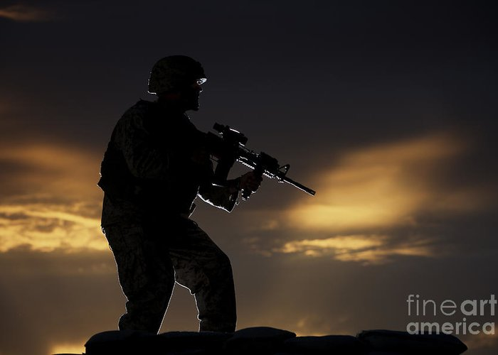 Vigilant Greeting Card featuring the photograph Partially Silhouetted U.s. Marine by Terry Moore