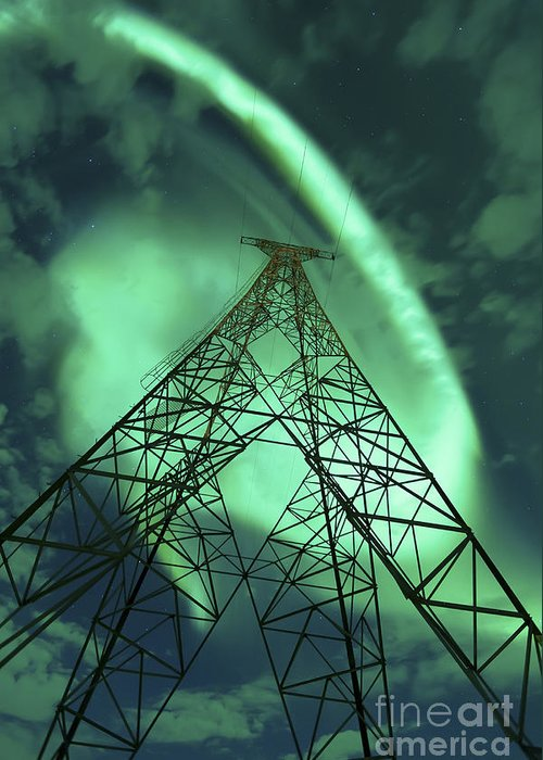 Green Greeting Card featuring the photograph Powerlines And Aurora Borealis by Arild Heitmann