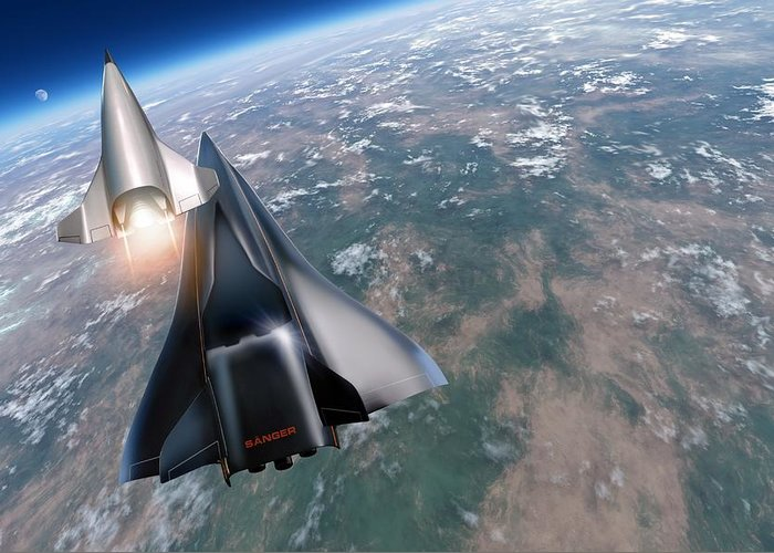 21st Century Greeting Card featuring the photograph Saenger Horus Spaceplane, Artwork by Detlev Van Ravenswaay