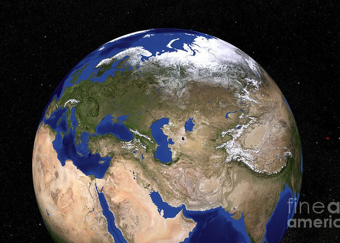 Adriatic Sea Greeting Card featuring the photograph The Blue Marble Next Generation Earth by Stocktrek Images