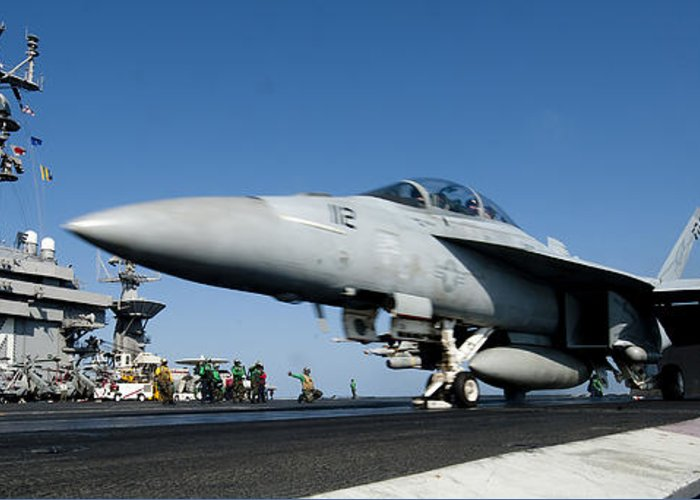 Operation Enduring Freedom Greeting Card featuring the photograph An Fa-18f Super Hornet Launches by Stocktrek Images
