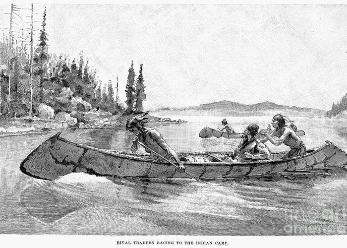 19th Century Greeting Card featuring the drawing Canada Fur Trade by Granger
