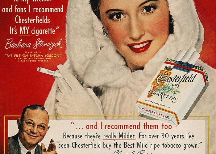 1949 Greeting Card featuring the photograph Chesterfield Cigarette Ad by Granger