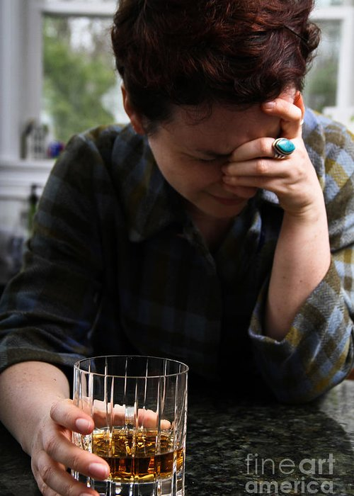 Person Greeting Card featuring the photograph Depression And Addiction by Photo Researchers, Inc.