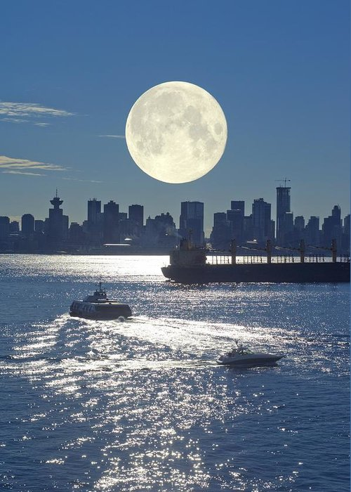 Moon Greeting Card featuring the photograph Full Moon Over Vancouver by David Nunuk