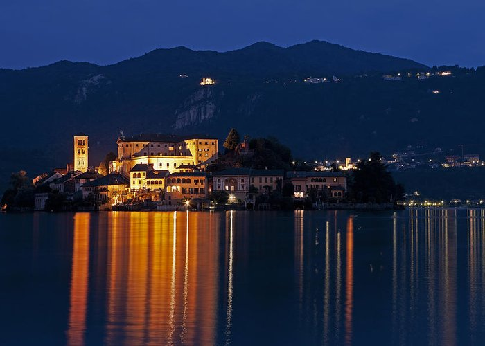 Orta Greeting Card featuring the photograph Island Of San Giulio by Joana Kruse