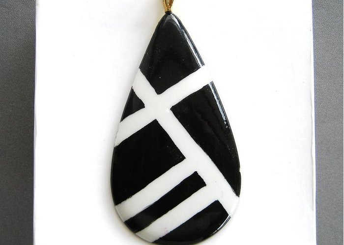 Porcelain Greeting Card featuring the ceramic art 712 Jewelry Pendant Black White by Wilma Manhardt