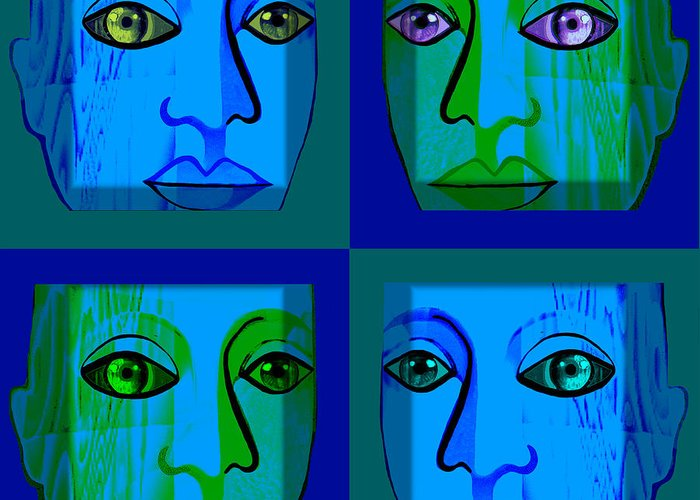 746 Greeting Card featuring the digital art 746 - Face Design by Irmgard Schoendorf Welch