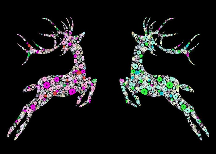 Animal Greeting Card featuring the painting Reindeer Design By Snowflakes by Setsiri Silapasuwanchai