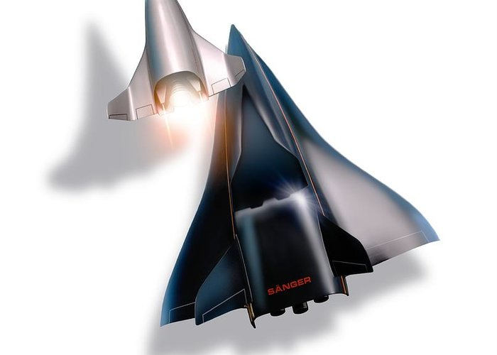 21st Century Greeting Card featuring the photograph Saenger Horus Spaceplane, Artwork by Detlev Van Ravenswaay