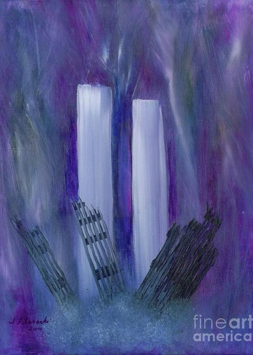 911 Greeting Card featuring the painting 9-11 Remembering by Judy Filarecki
