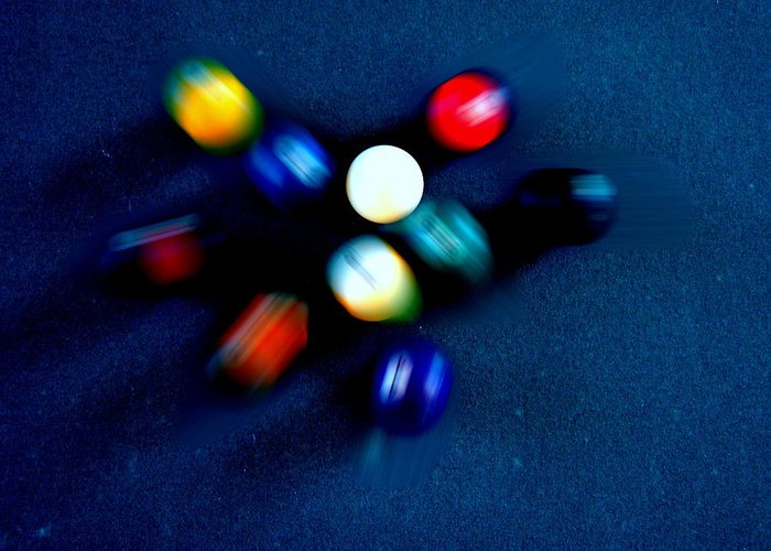 Pool Greeting Card featuring the photograph 9 Ball Break by Nick Kloepping