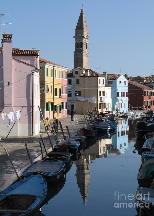 Canal Greeting Card featuring the photograph Burano.venice by Bernard Jaubert