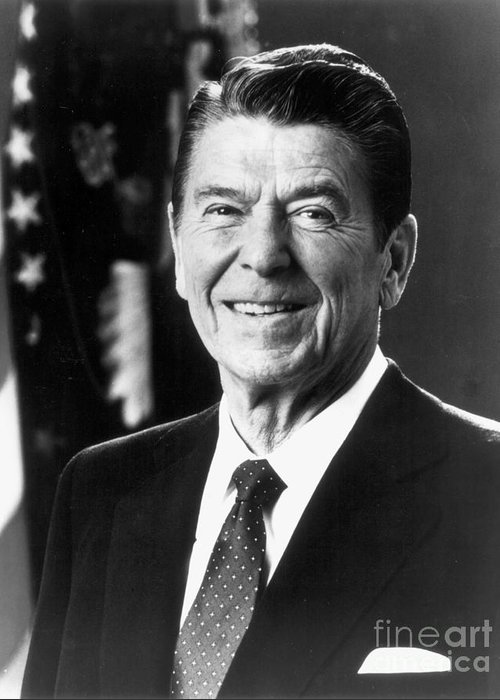 1980s Greeting Card featuring the photograph Ronald Reagan (1911-2004) by Granger