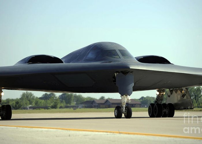 Missouri Greeting Card featuring the photograph A B-2 Spirit Taxis Onto The Flightline by Stocktrek Images