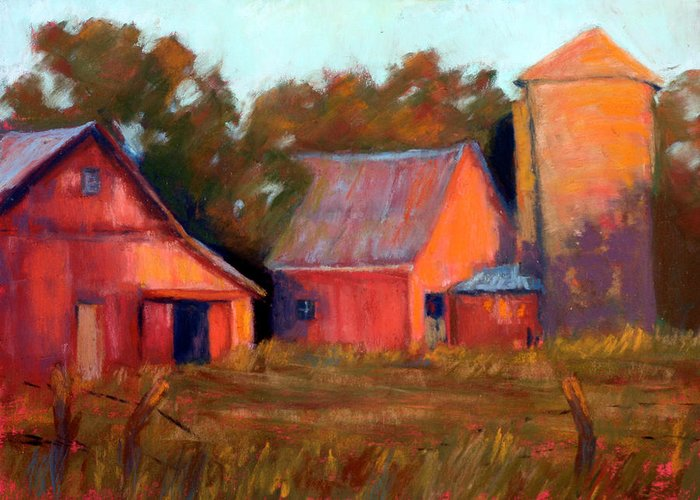 Red Barns And Outbuildings At Sunset Ruralscene Greeting Card featuring the painting A Barn At Sunset by Cheryl Whitehall