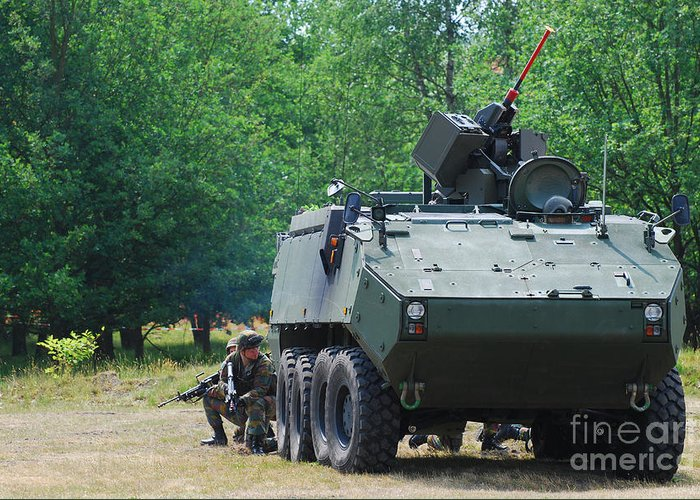 Piranha Iiic Greeting Card featuring the photograph A Belgian Army Piranha IIic With The Fn by Luc De Jaeger