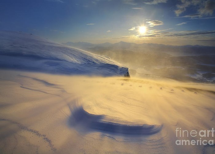 Golden Greeting Card featuring the photograph A Blizzard On Toviktinden Mountain by Arild Heitmann