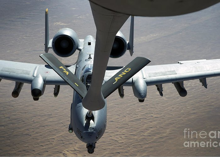 Aerial Refueling Greeting Card featuring the photograph A Boom Operator Refuels An A-10 by Stocktrek Images