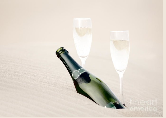 Bottle Greeting Card featuring the photograph A Bottle Of Champagne With Two Glasses by Iryna Shpulak