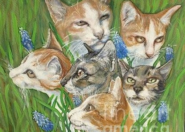 Kitties Greeting Card featuring the painting A Bunch Of Cats In The Grass by Maria Elena Gonzalez