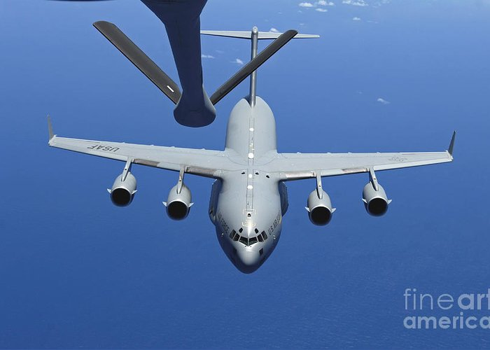 Aerial Greeting Card featuring the photograph A C-17 Globemaster IIi Approaches by Stocktrek Images