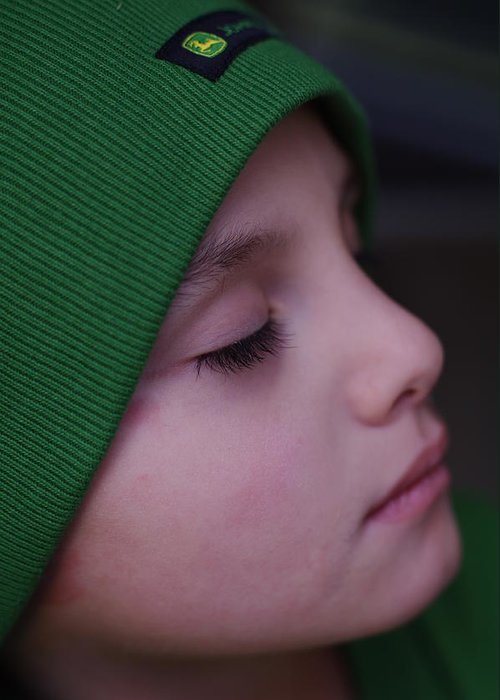 Boy Cap John Deere Sleep Calm Eyelashes Face Child Greeting Card featuring the photograph A Calm Moment by Becky Arvin