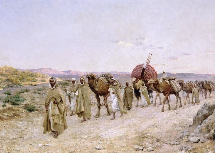 A Caravan Near Biskra Greeting Card featuring the painting A Caravan Near Biskra by PJB Lazerges