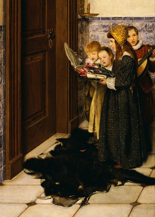 A Carol (oil On Panel) Greeting Card featuring the painting A Carol by Laura Theresa Alma-Tadema