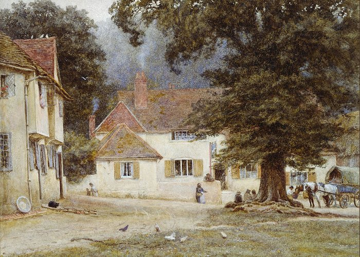 Landscape; English; Green; Pub; Public House; Rural; Victorian Greeting Card featuring the painting A Cart By A Village Inn by Helen Allingham
