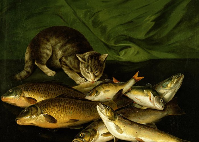 A Cat With Trout Greeting Card featuring the painting A Cat With Trout Perch And Carp On A Ledge by Stephen Elmer