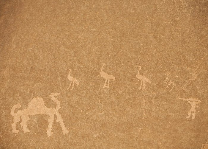 Wadi Rum Greeting Card featuring the photograph A Close View Of Ancient Petroglyphs by Taylor S. Kennedy