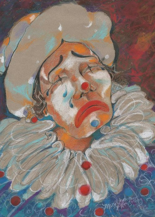 Clown Greeting Card featuring the painting A Clown Face by Mary Armstrong