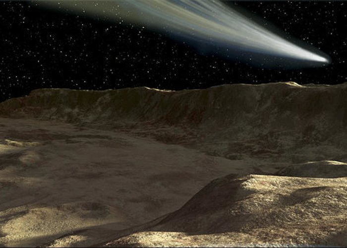 Color Image Greeting Card featuring the digital art A Comet Passes Over The Surface by Ron Miller