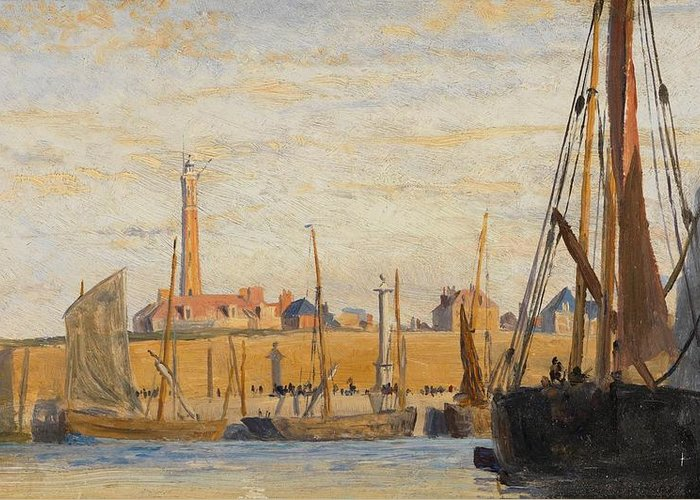 Boat Greeting Card featuring the painting A Continental Harbor by William Lionel Wyllie