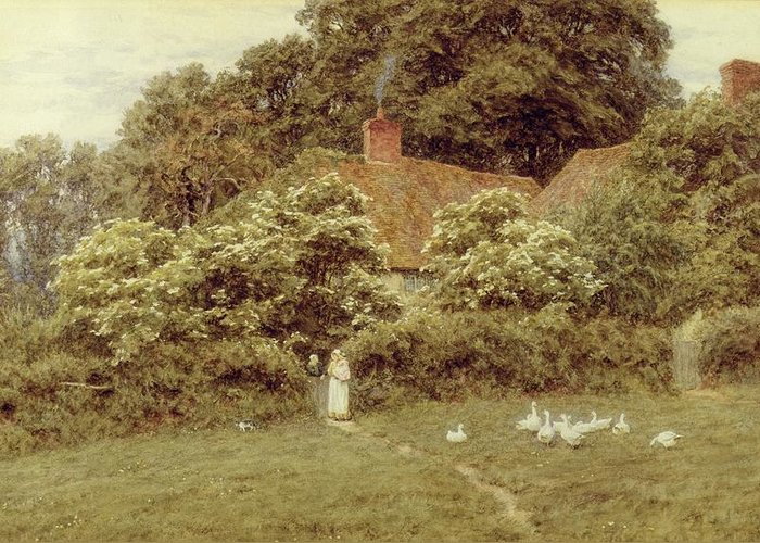 Mother And Child; Gate;rural Scene; Country; Countryside; Home; House; Path; Picturesque ;idyllic; Female; Friends; Geese; Female Greeting Card featuring the painting A Cottage At Farringford Isle Of Wight by Helen Allingham