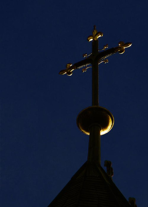 Crosses Greeting Card featuring the photograph A Cross On St Vitus Cathedral Prague by Christine Till