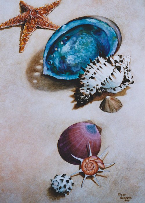 Watercolor Of Seashells Greeting Card featuring the painting A Day At The Beach by Eve Riser Roberts