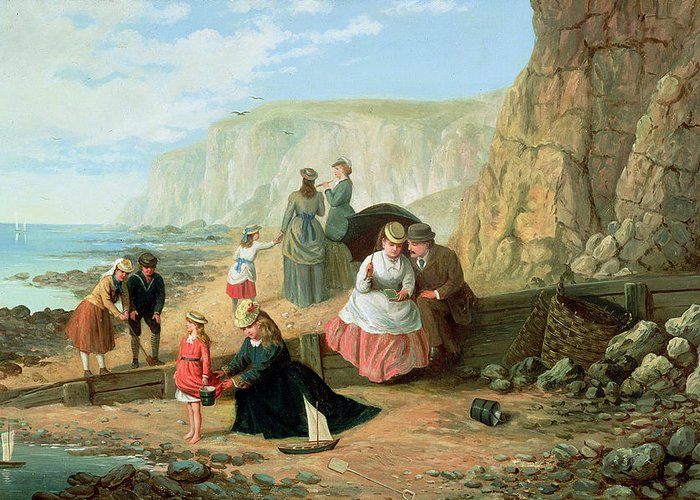 Cliff; Seashore; Cliffs; Summer; Holiday; Family; Lovers; Couple; Children; Spade; Toy; Boat; Sea; Sailor; Suit; Strolling; Pastime; Bucket; Playing; Digging; Telescope; Book; Parasol; Umbrella; Sunshade; Basket; Rocks; Sand Greeting Card featuring the painting A Day At The Seaside by William Scott