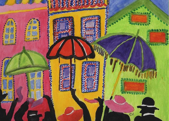 Paris Greeting Card featuring the painting A Day In Paris by Connie Valasco