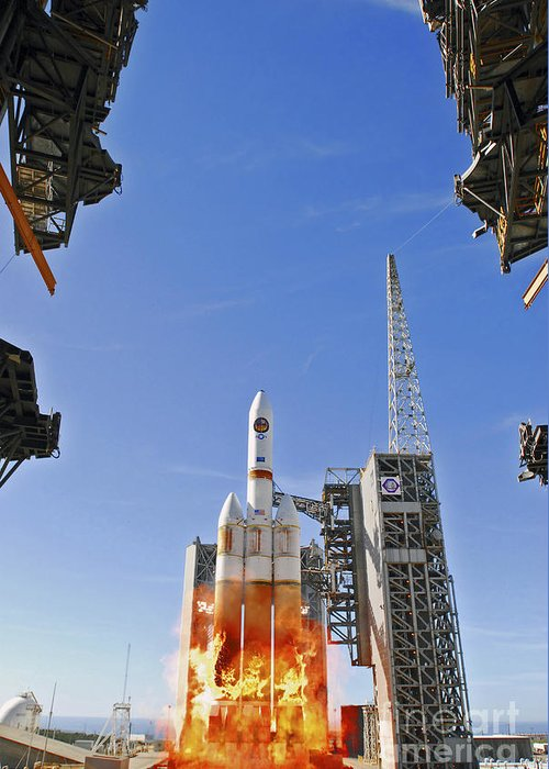 Vandenberg Air Force Base Greeting Card featuring the photograph A Delta Iv Heavy Launch Vehicle by Stocktrek Images