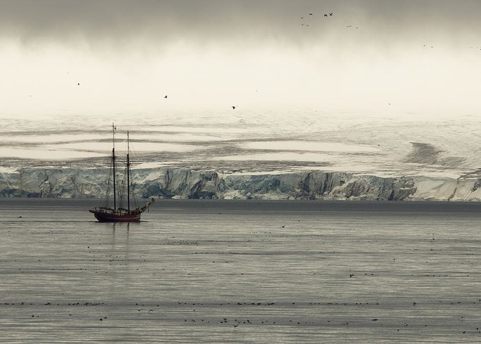 Outdoors Greeting Card featuring the photograph A Double-masted Sailboat Floats Near An by Norbert Rosing